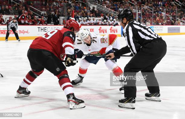 Lucas Wallmark of the Florida Panthers takes a face off against Barrett Hayton of the Arizona Coyotes at Gila River Arena on February 25 2020 in...