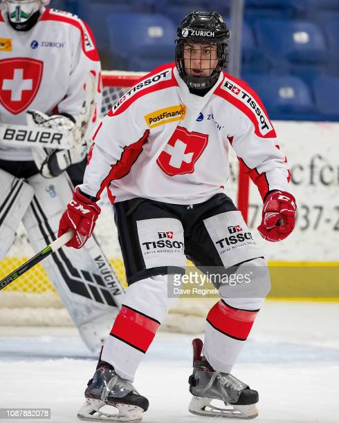 Lucas Wenger of the Switzerland Nationals follows the play against the USA Nationals during day2 of game two of the 2018 Under17 Four Nations...