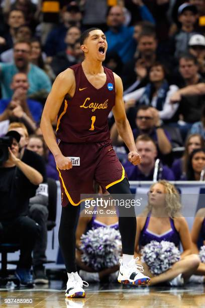 Lucas Williamson of the Loyola Ramblers reacts after a play in the first half against the Kansas State Wildcats during the 2018 NCAA Men's Basketball...