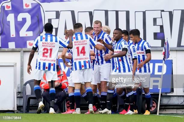 Lucas Woudenberg of SC Heerenveen celebrates 1-0 with Rodney Kongolo of SC Heerenveen, Ibrahim Dresevic of SC Heerenveen, Henk Veerman of SC...