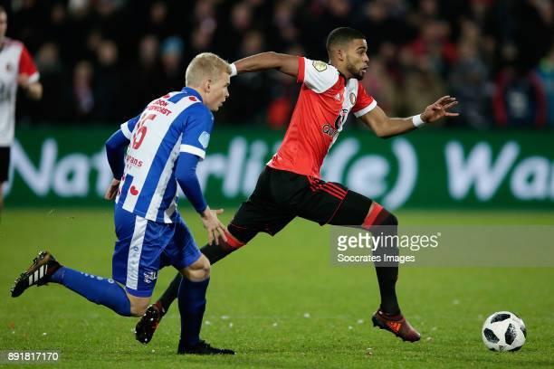 Lucas Woudenberg of SC Heerenveen Jeremiah St Juste of Feyenoord during the Dutch Eredivisie match between Feyenoord v SC Heerenveen at the Stadium...