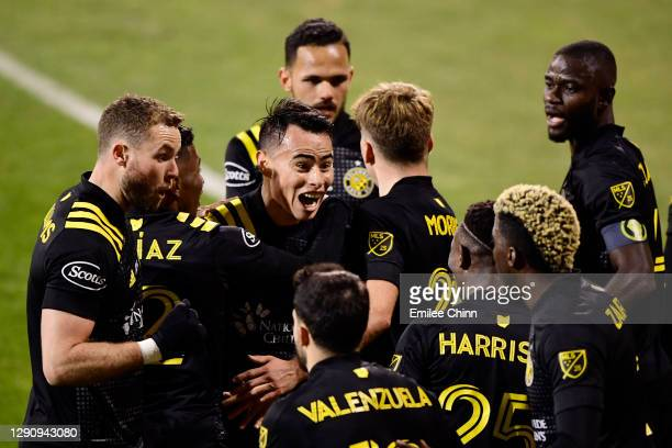Lucas Zelarayan of Columbus Crew celebrates his goal in the first half during the MLS Cup Final against the Seattle Sounders at MAPFRE Stadium on...