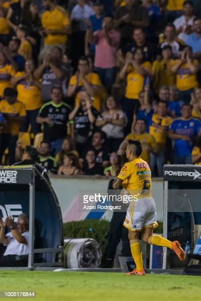 Jurgen Damm of Tigres drives the ball during the 1st round match between Tigres UANL and Leon as part of the Torneo Apertura 2018 Liga MX at...