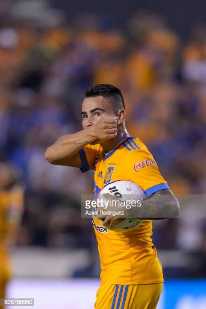 Lucas Zelarayan of Tigres celebrates after scoring his team's first goal during the 3rd round match between Tigres UANL and Puebla as part of the...