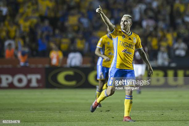 Lucas Zelarayan of Tigres celebrates after scoring his team's second goal during the 3rd round match between Tigres UANL and America as part of the...