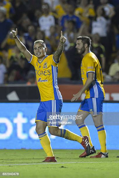 Lucas Zelarayan of Tigres celebrates after scoring his team's third goal during the 3rd round match between Tigres UANL and America as part of the...
