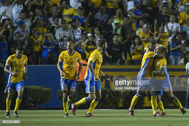 Lucas Zelarayan of Tigres celebrates with teammates after scoring his team's second goal during the 3rd round match between Tigres UANL and America...