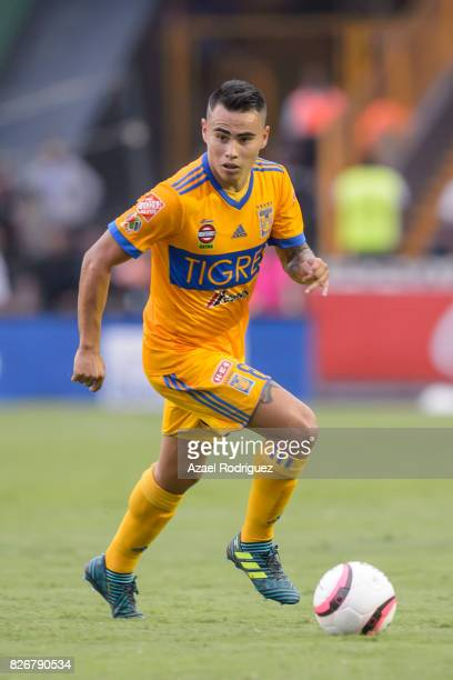 Lucas Zelarayan of Tigres drives the ball during the 3rd round match between Tigres UANL and Puebla as part of the Torneo Apertura 2017 Liga MX at...