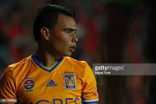 Lucas Zelarayan of Tigres looks on during the 16th round match between Tijuana and Tigres UANL as part of the Torneo Apertura 2016 Liga MX at...