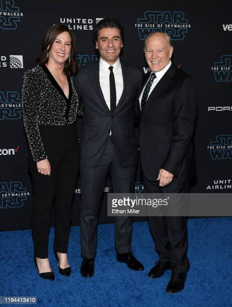 Lucasfilm President Kathleen Kennedy actor Oscar Isaac and producer Frank Marshall attend the premiere of Disney's Star Wars The Rise of Skywalker on...