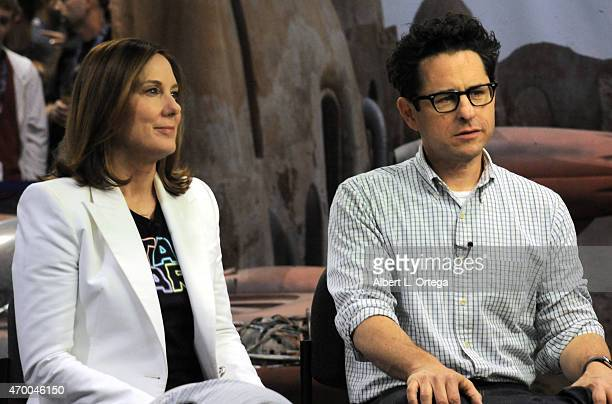 LucasFilm's Kathleen Kennedy and director JJ Abrams promote 'Star Wars The Force Awakens' on Day One of Disney's 2015 Star Wars Celebration held at...