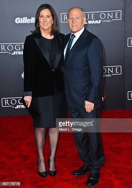 LucasFilm's Kathleen Kennedy and husband/producer Frank Marshall arrive for the Premiere Of Walt Disney Pictures And Lucasfilm's Rogue One A Star...