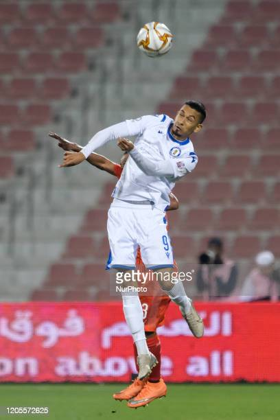 Lucca Borges de Brito of Al Khor heads the ball during the QNB Stars League match against Al Arabi at the Grand Hamad stadium on March 6 2020 in...
