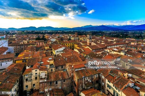 Lucca cityscape in the afternoon