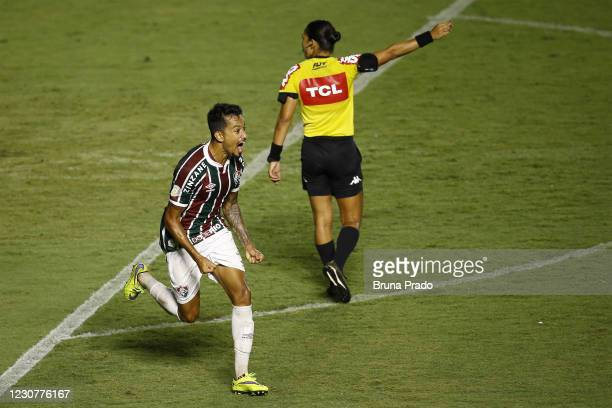 Lucca of Fluminense celebrates after scoring the first goal of his team during the match between Fluminense and Botafogo as part of the Brasileirao...