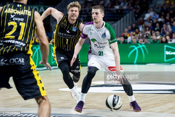 Lucca Staiger and Tim Abromaitis of Iberostar Tenerife and Adam Waczynski of Unicaja Malaga during King's Cup Quarter Finals match between Iberostar...