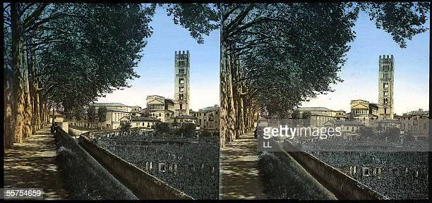 Lucca The church San Frediano By 1895 LL20554 stereo colours