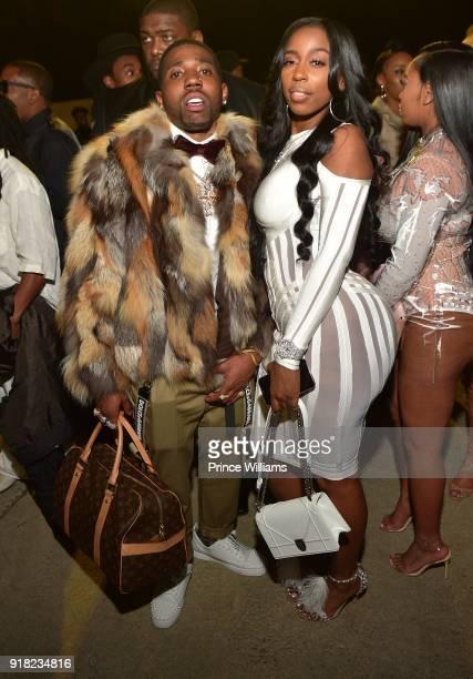 Lucci and Kash Doll attend Trap Du Soleil Celebrating YFN Lucci on February 13 2018 in Atlanta Georgia