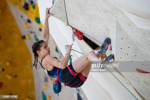 Luce Douady of France competes during the finals of the EYC European Youth Cup Lead on July 8 2018 in Munich Germany