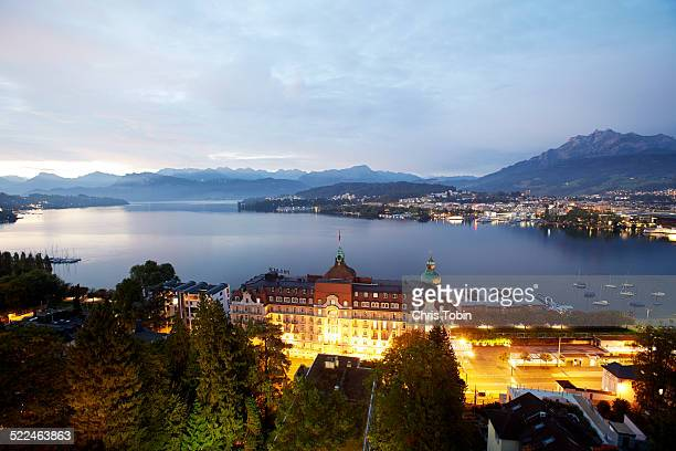 Lucerne city skyline with lake and mountains