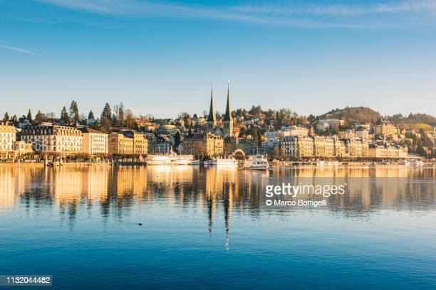 lucerne cityscape at sunrise, switzerland - dresden stock-fotos und bilder
