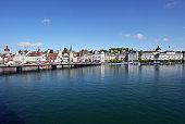 Lucerne cityscape, skyline beyond lake