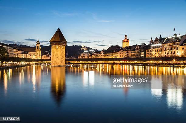 Lucerne famous Chapel bridge at dusk in Switzerland