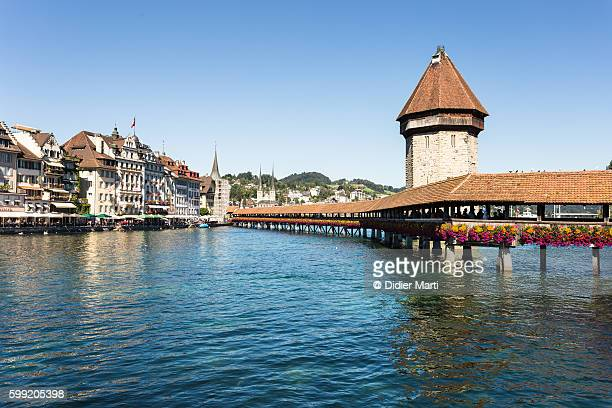 Lucerne famous Chapel bridge in the heart of Lucerne old town