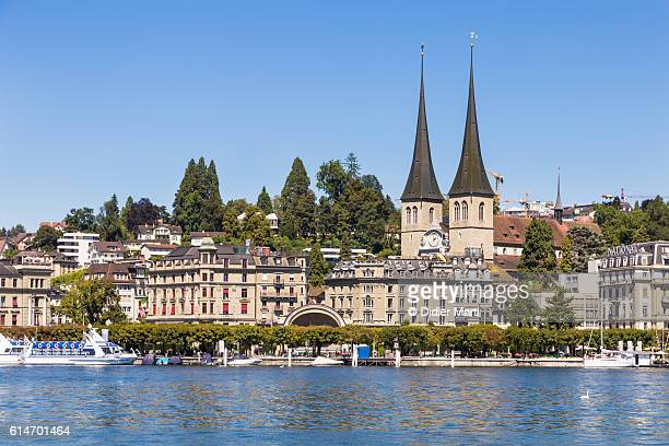 Lucerne old town in Switzerland by lake Lucerne.