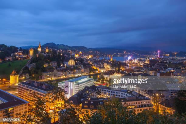 Lucerne, Switzerland at Sunset