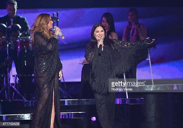 Lucero and Ana Gabriel perform onstage at the 2015 Billboard Latin Music Awards presented bu State Farm on Telemundo at Bank United Center on April...