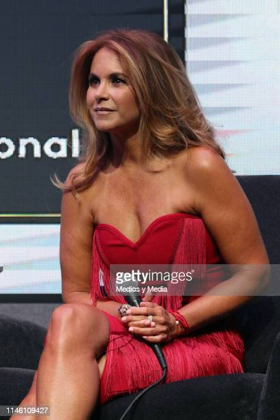 Lucero during a press conference to present her new single 'Me deshice de tu amor' at Universal Music on April 30 2019 in Mexico City Mexico
