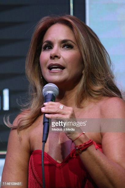 Lucero speaks during a press conference to present her new single 'Me deshice de tu amor' at Universal Music on April 30 2019 in Mexico City Mexico