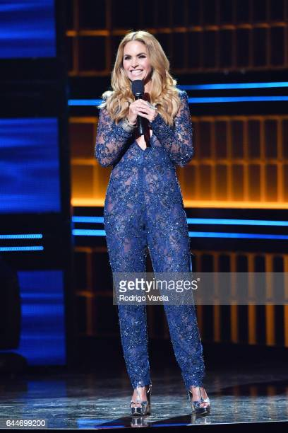 Lucero speaks onstage during Univision's 29th Edition of Premio Lo Nuestro A La Musica Latina at the American Airlines Arena on February 23 2017 in...