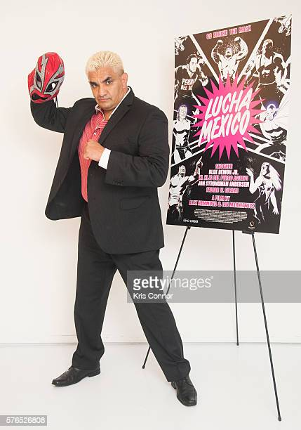"""Lucha Libre Wresting Legend Shocker poses for a photo during the """"Lucha Mexico"""" New York Premiere at the Museum of Moving Image on July 15, 2016 in..."""
