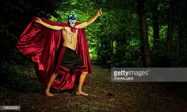 lucha libre wrestler in the woods - wrestling stock pictures, royalty-free photos & images
