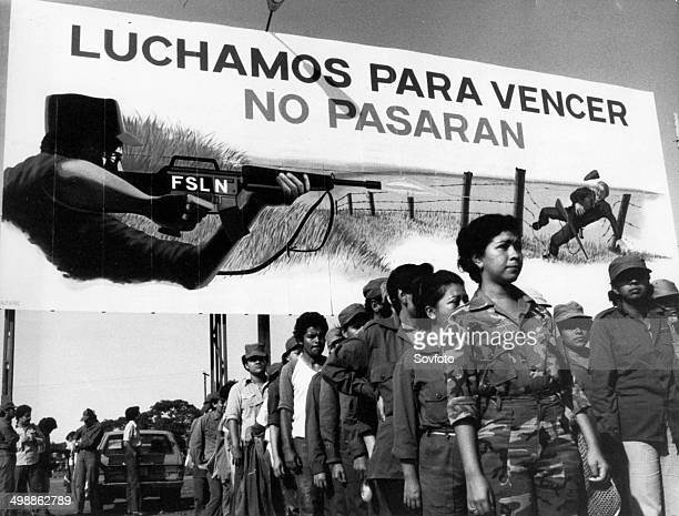Luchamos para vencer - No pasaran!' - motto of the People's Militia of Nicaragua, Sandinista Popular Army , circa 1980.