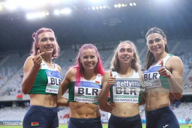 Luchshava Alina Luchshava, Yuliya Bliznets, Asteria Uzo Limai and Aliaksandra Khilmanovich of Belarus pose for a team photo after a win in the...