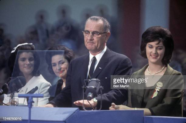 Luci Baines Johnson, Lady Bird Johnson , politician Lyndon B Johnson and Lynda Bird Johnson Robb at the Democratic National Convention, August 1964.