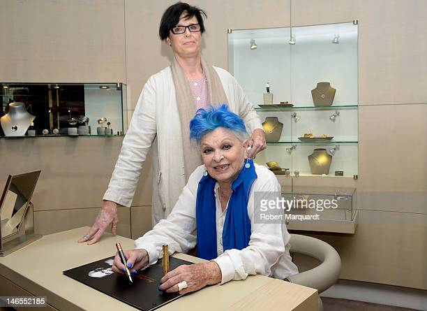 Lucia Bose and Lucia Dominguin present the new Mont Blanc limited edition fountain pen 'The Pablo Picasso' at the Mont Blac store on June 19, 2012 in...