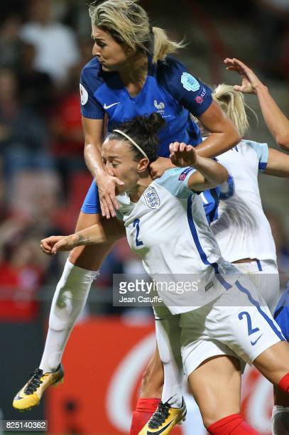 Lucia Bronze of England and Claire Lavogez of France during the UEFA Women's Euro 2017 quarter final match between England and France at Stadion De...