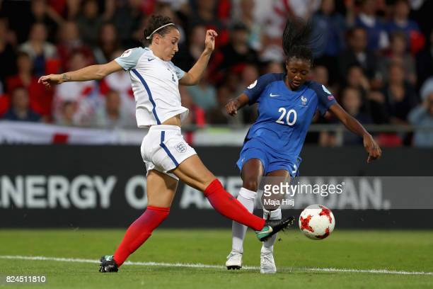 Lucia Bronze of England and Kadidiatou Diani of France battle for possession during the UEFA Women's Euro 2017 Quarter Final match between France and...