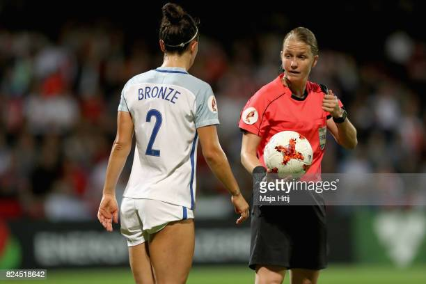 Lucia Bronze of England appeals to referee Esther Staubli during the UEFA Women's Euro 2017 Quarter Final match between France and England at Stadion...
