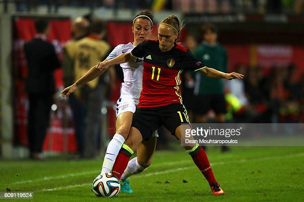 Lucia Bronze of England battles for the ball with Janice Cayman of the Belgium during the UEFA Women's Euro 2017 Qualifier between Belgium and...