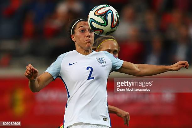 Lucia Bronze of England in action during the UEFA Women's Euro 2017 Qualifier between Belgium and England held at Stadium Den Dreef Oud Heverlee...
