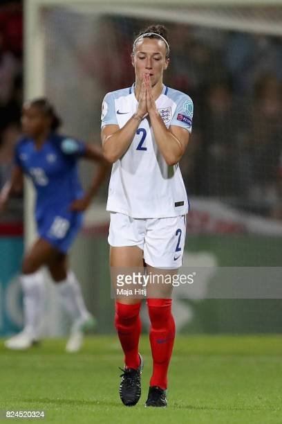 Lucia Bronze of England reacts during the UEFA Women's Euro 2017 Quarter Final match between France and England at Stadion De Adelaarshorst on July...