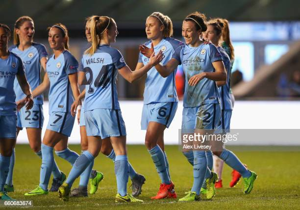 Lucia Bronze of Manchester City celebrates scoring the opening goal with Keira Walsh of Manchester City during the UEFA Women's Champions League...
