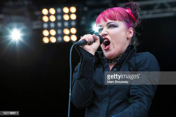 Lucia Cifarelli of KMFDM performing at Hellfest Festival on June 18 2010 in Clisson France