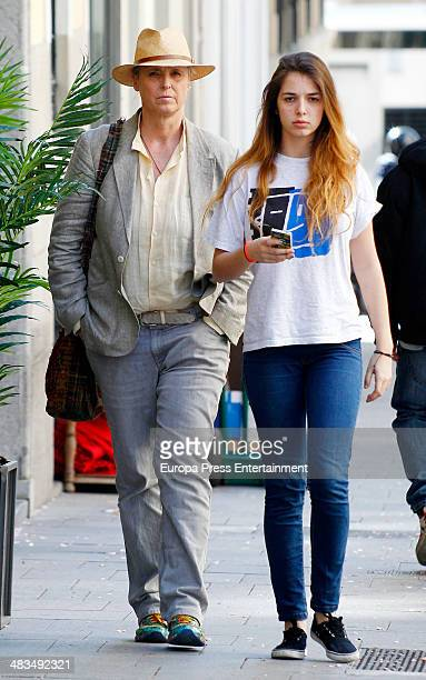 Lucia Dominguin and her daughter are seen on April 8 2014 in Madrid Spain