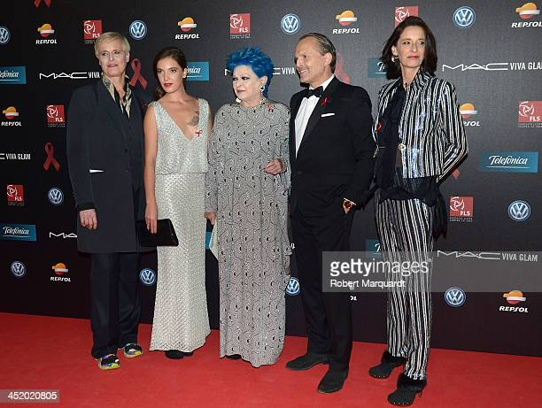 Lucia Dominguin guest Lucia Bose Miguel Bose and Paola Dominguin pose during a photocall for the '4th Annual Gala Sida Barcelona 2013' held at the El...